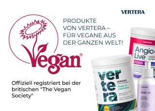 """Die Produkte von Vertera sind in der internationalen Vegan-Gesellschaft """"The Vegan Society"""" registriert worden"""