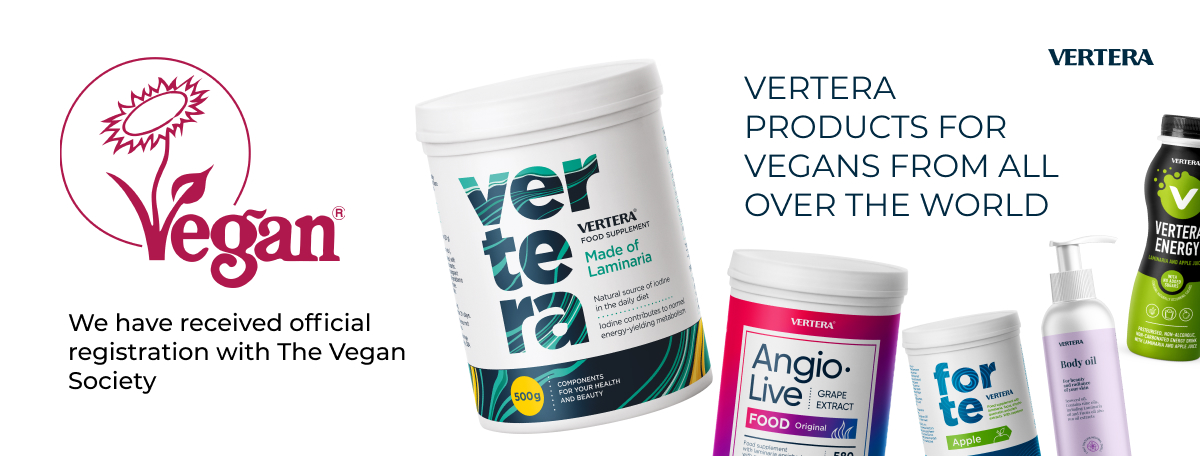 Vertera products are registered with The Vegan Society