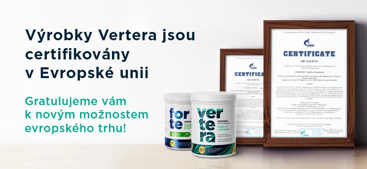 Výrobky Vertera jsou certifikovány v Evropské unii
